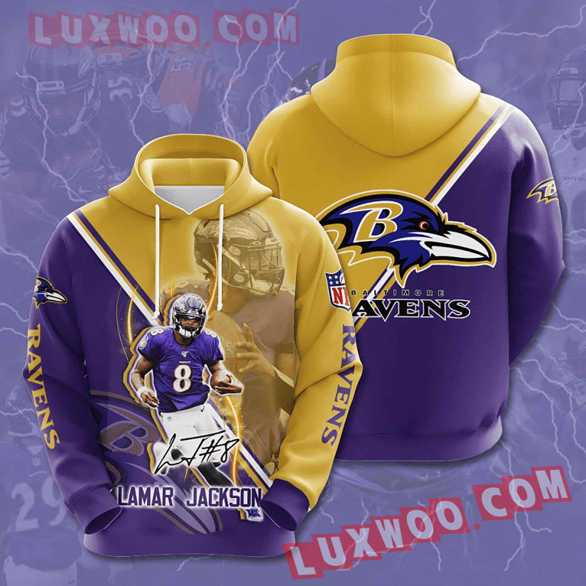 Baltimore Ravens Nfl Custom All Over Print 3d Pullover Hoodie V20