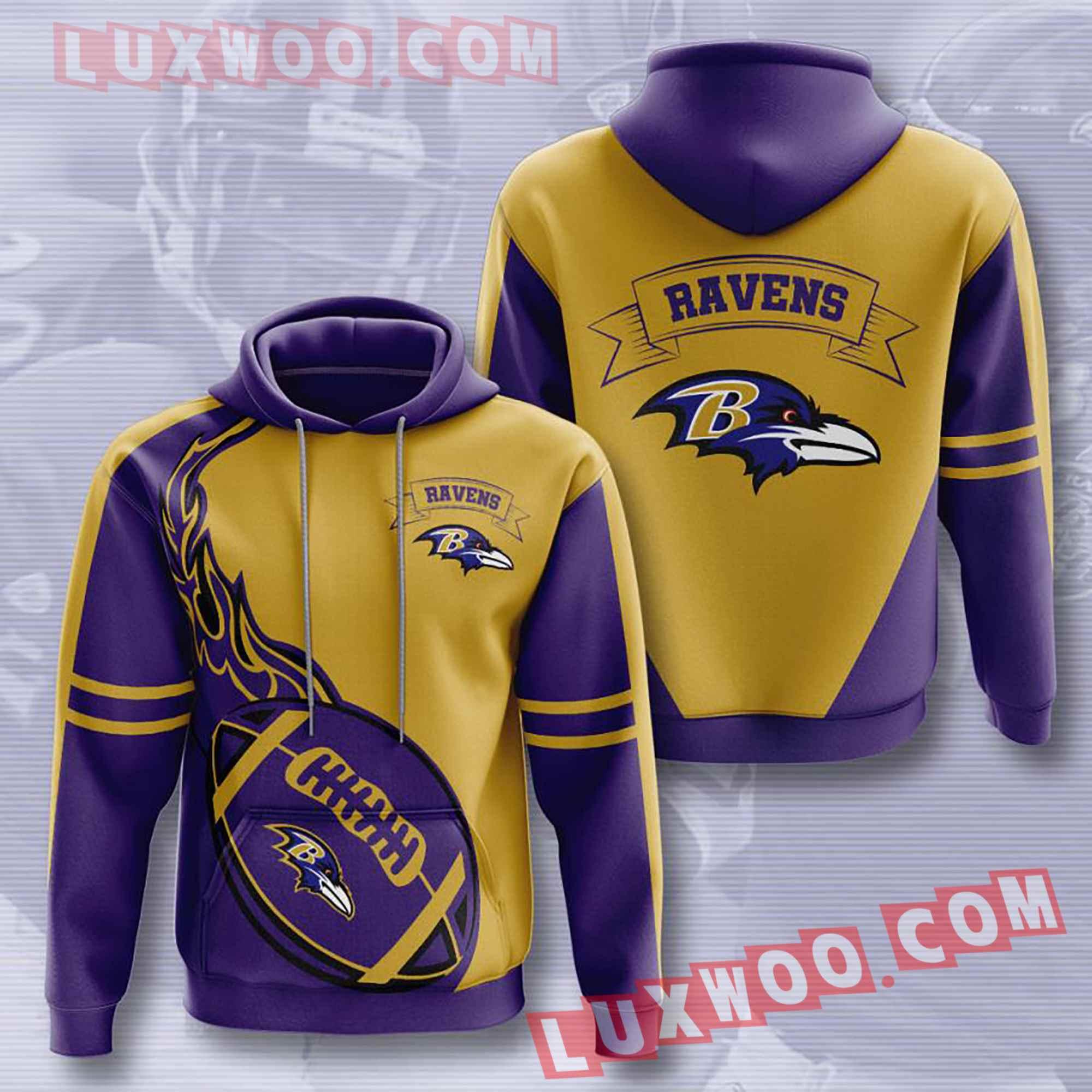 Baltimore Ravens Nfl Custom All Over Print 3d Pullover Hoodie V3