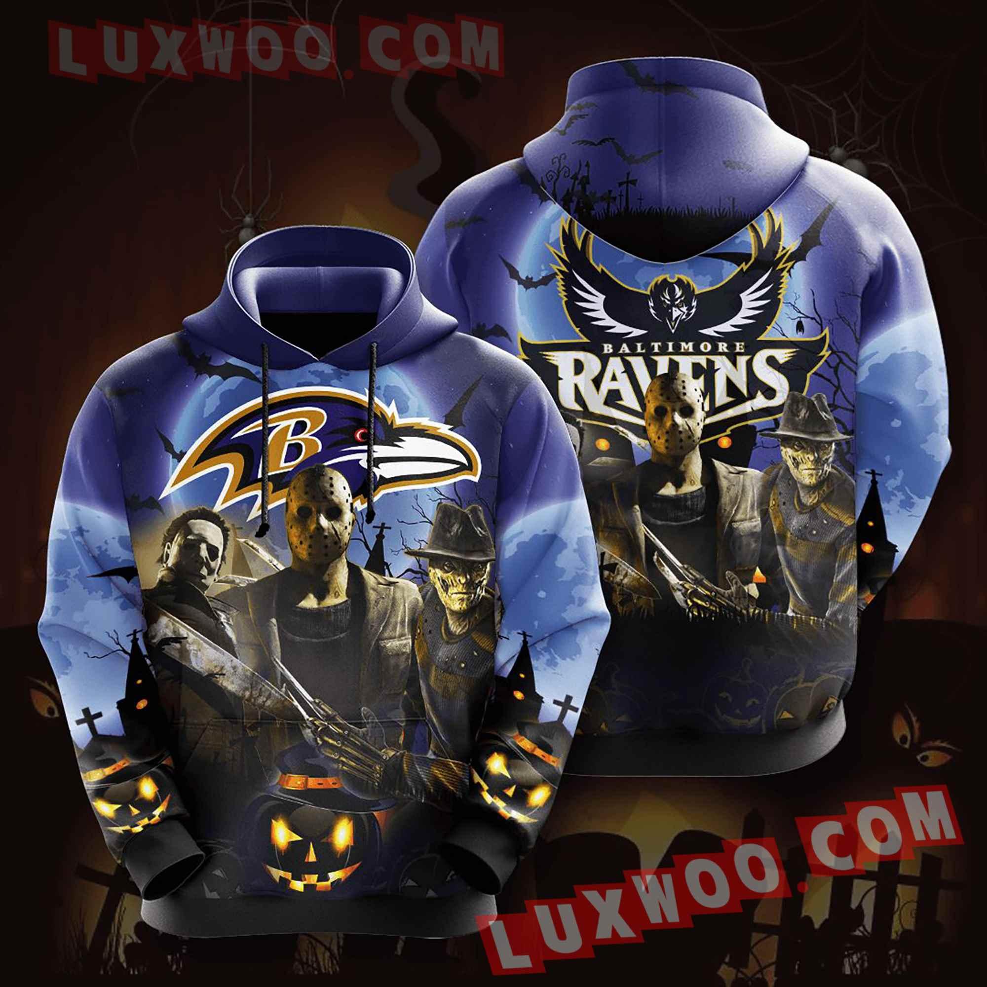 Baltimore Ravens Nfl Custom All Over Print 3d Pullover Hoodie V4