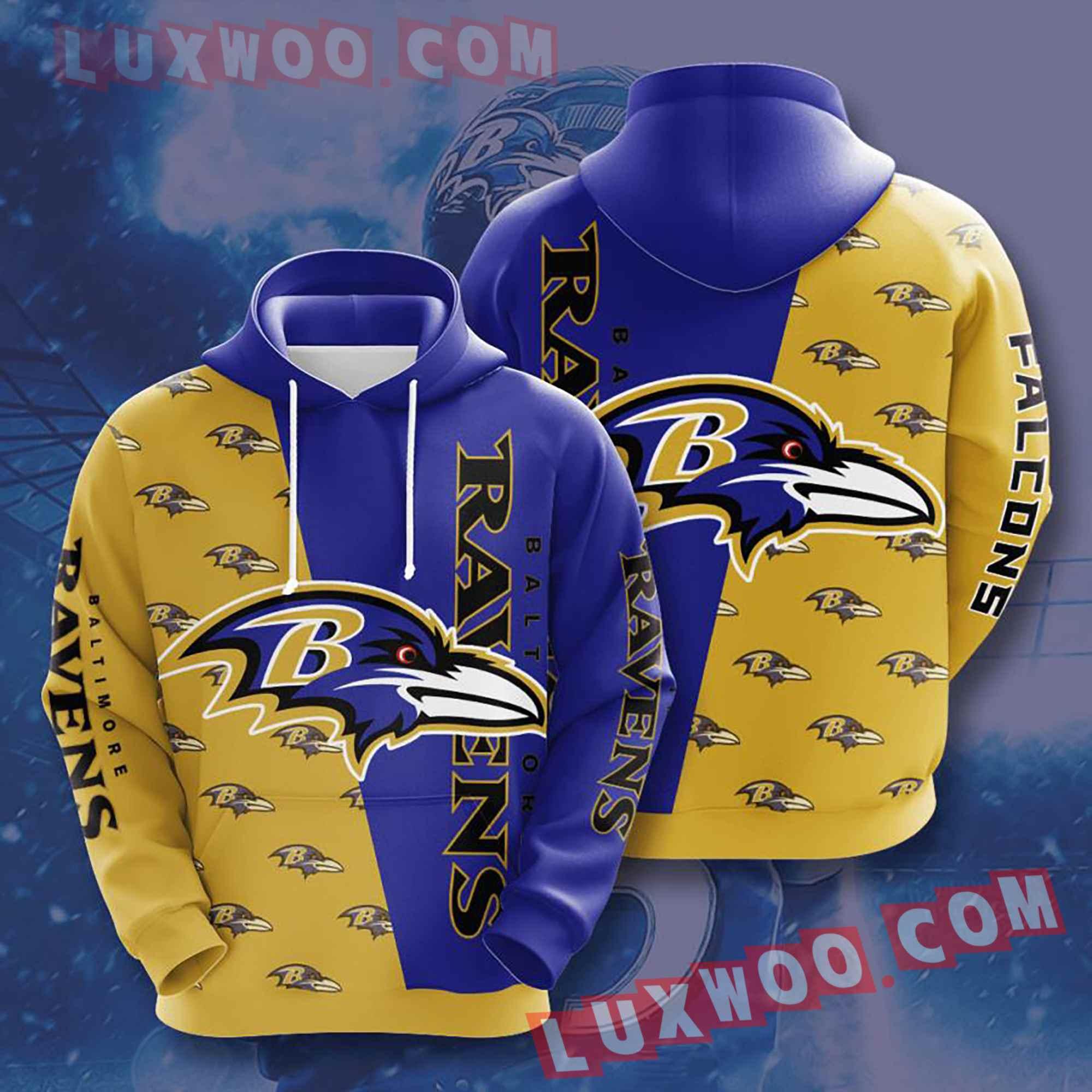 Baltimore Ravens Nfl Custom All Over Print 3d Pullover Hoodie V5
