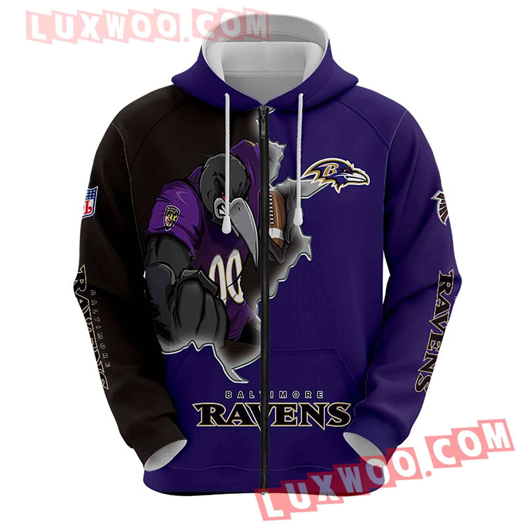 Baltimore Ravens Nfl Custom All Over Print 3d Pullover Hoodie V6