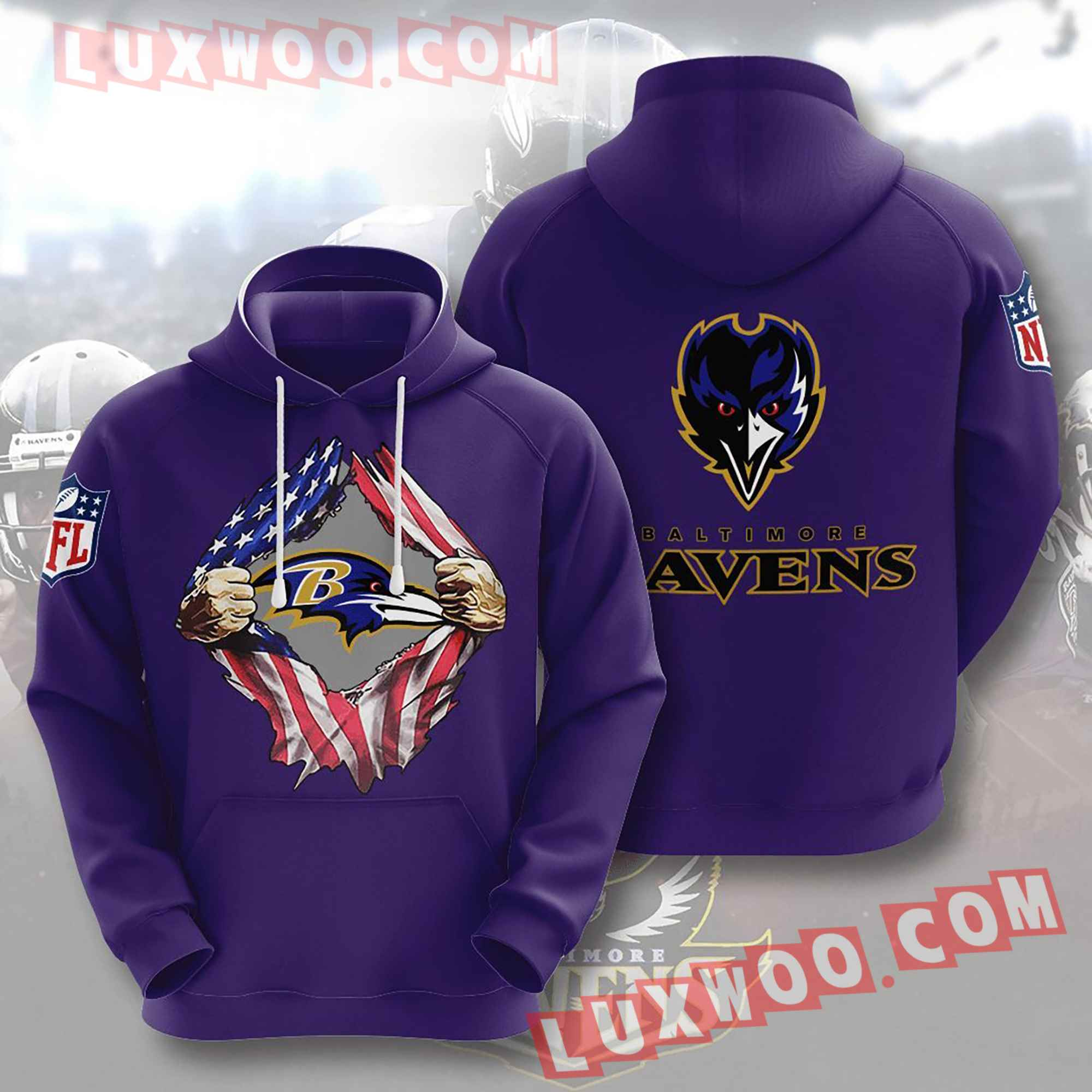 Baltimore Ravens Nfl Custom All Over Print 3d Pullover Hoodie V7