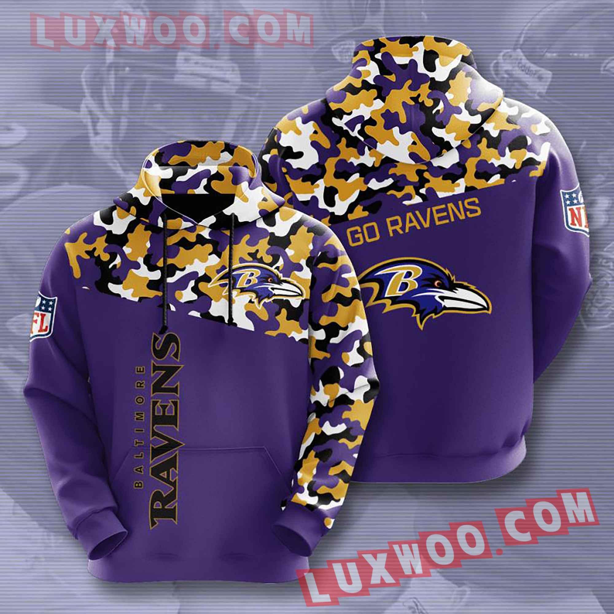 Baltimore Ravens Nfl Custom All Over Print 3d Pullover Hoodie V9