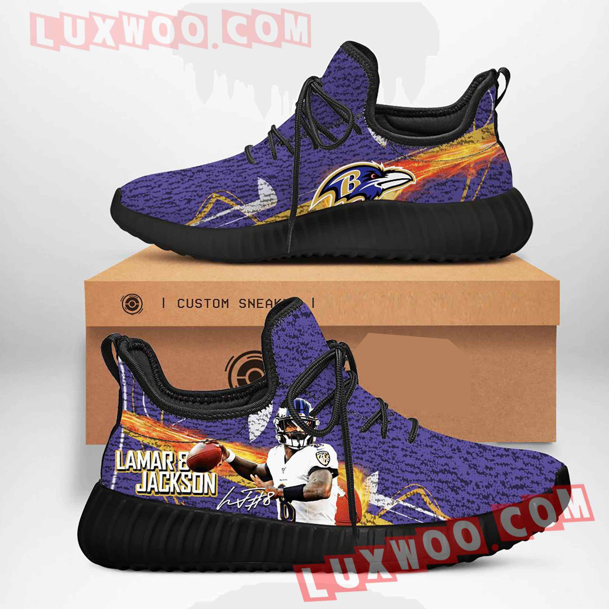 Baltimore Ravens Nfl Yezzy Custom Shoes Sneaker V4