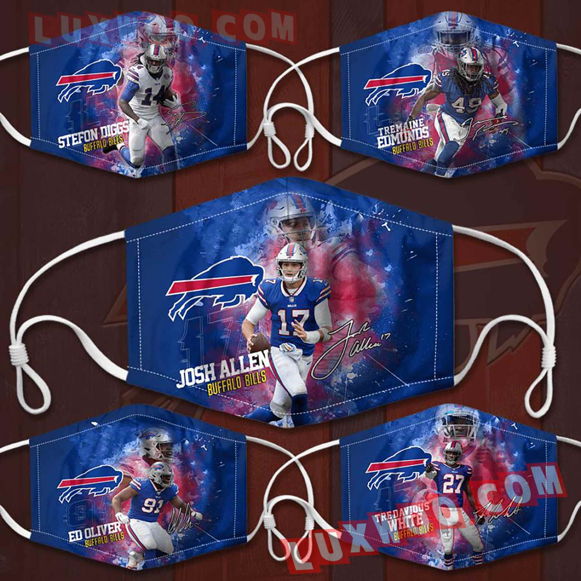 Buffalo Bills 3d Face Mask V3 Set Combo 5 Mask