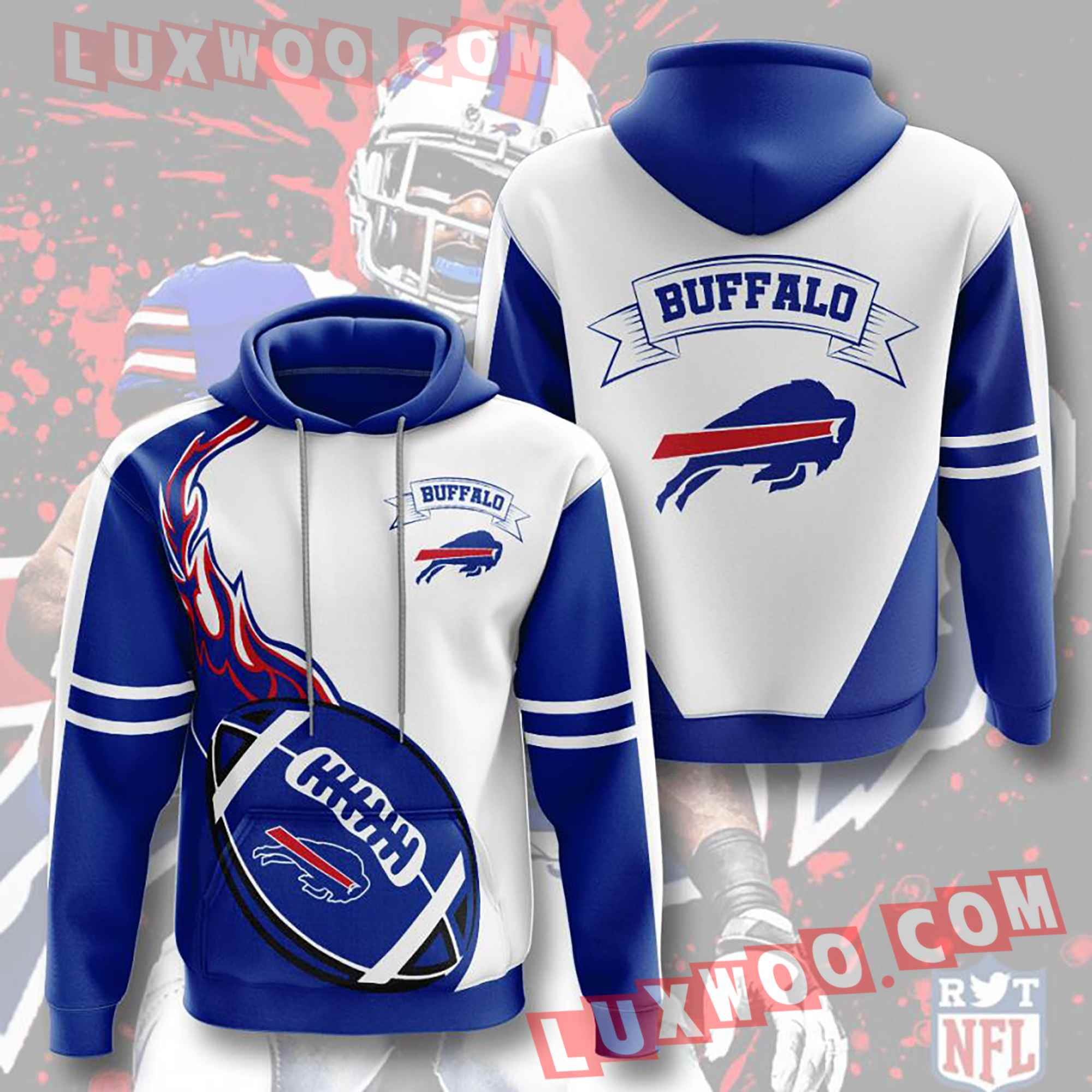 Nfl Buffalo Bills Hoodies Custom All Over Print 3d Pullover Hoodie V5