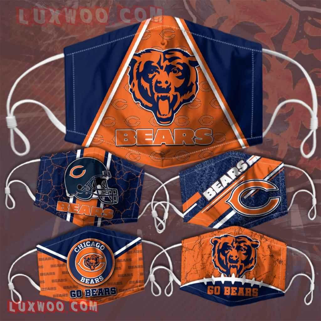 Chicago Bears 3d Face Mask V1 Set Combo 5 Mask