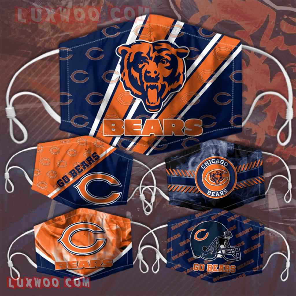 Chicago Bears 3d Face Mask V3 Set Combo 5 Mask