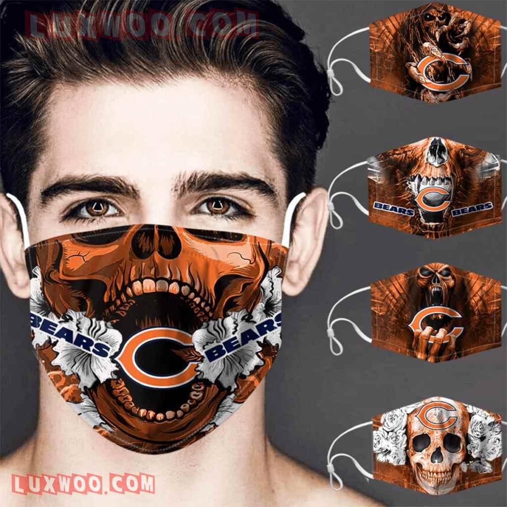 Chicago Bears 3d Face Mask V4 Set Combo 5 Mask