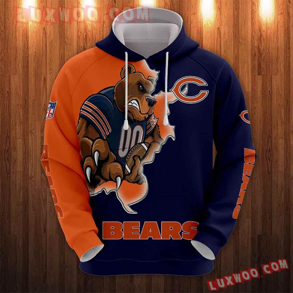 Chicago Bears Nfl Custom All Over Print 3d Pullover Hoodie V4