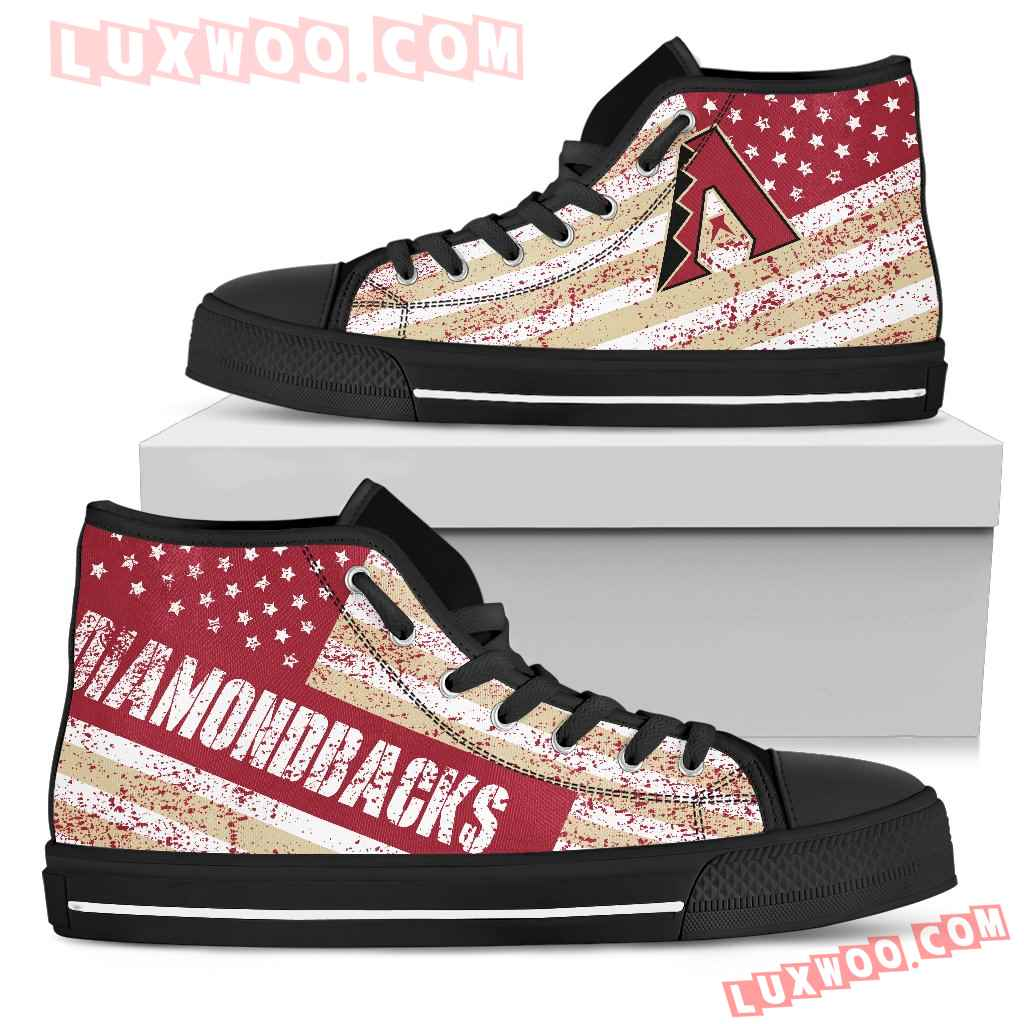 America Flag Italic Vintage Style Arizona Diamondbacks High Top Shoes