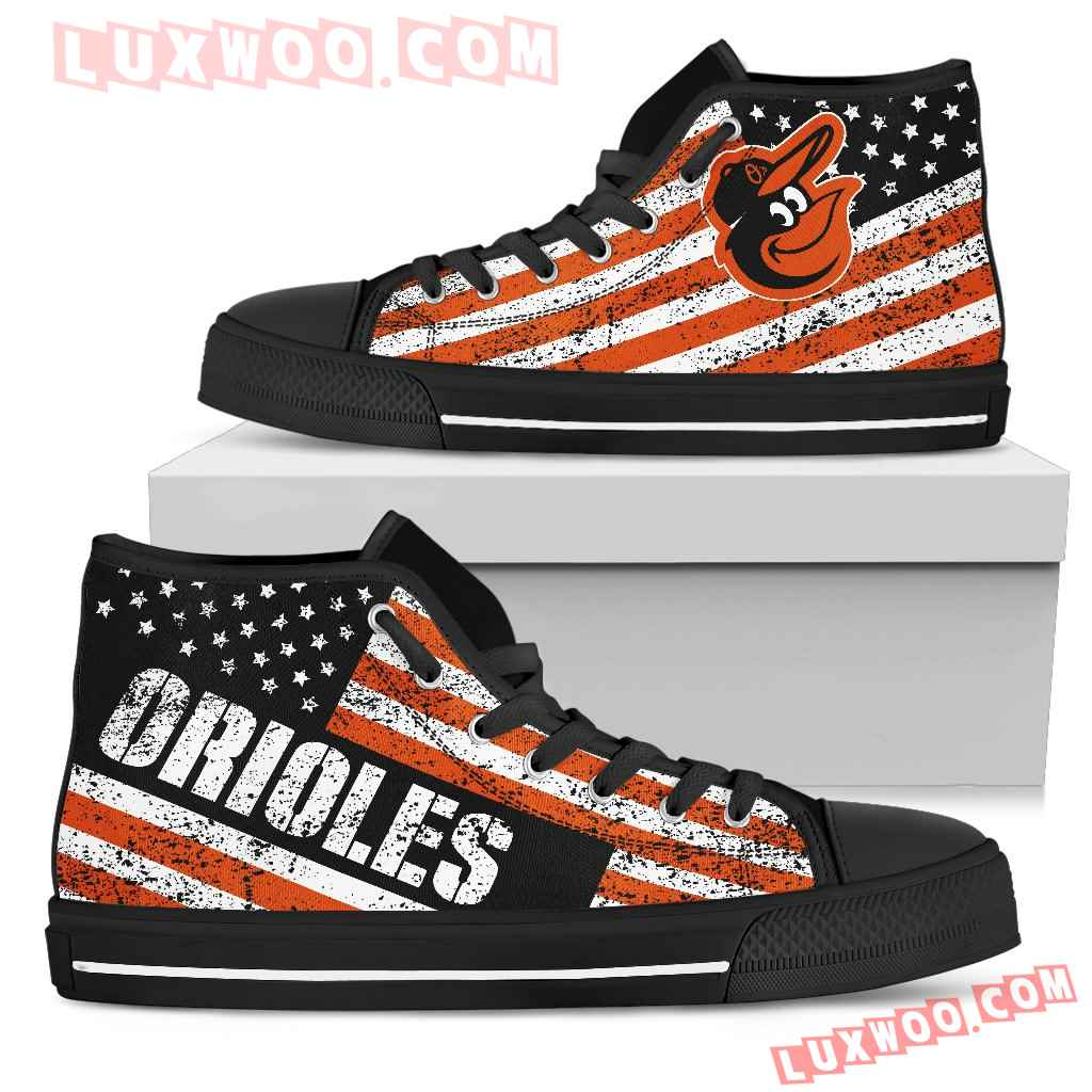 America Flag Italic Vintage Style Baltimore Orioles High Top Shoes