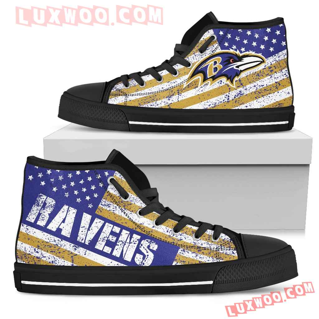America Flag Italic Vintage Style Baltimore Ravens High Top Shoes