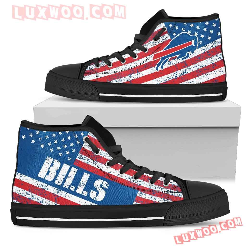 America Flag Italic Vintage Style Buffalo Bills High Top Shoes
