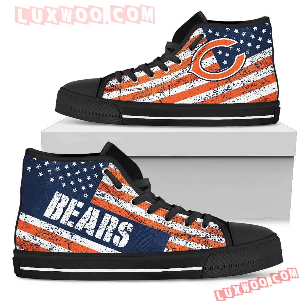 America Flag Italic Vintage Style Chicago Bears High Top Shoes