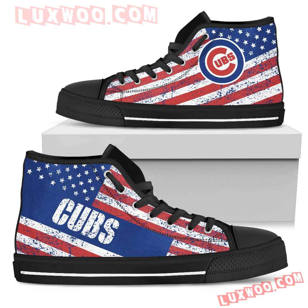 America Flag Italic Vintage Style Chicago Cubs High Top Shoes