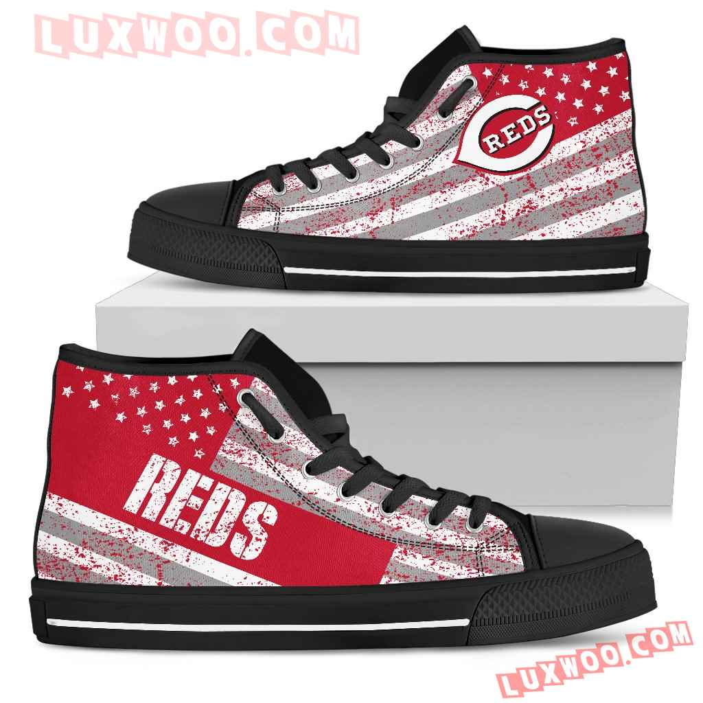 America Flag Italic Vintage Style Cincinnati Reds High Top Shoes