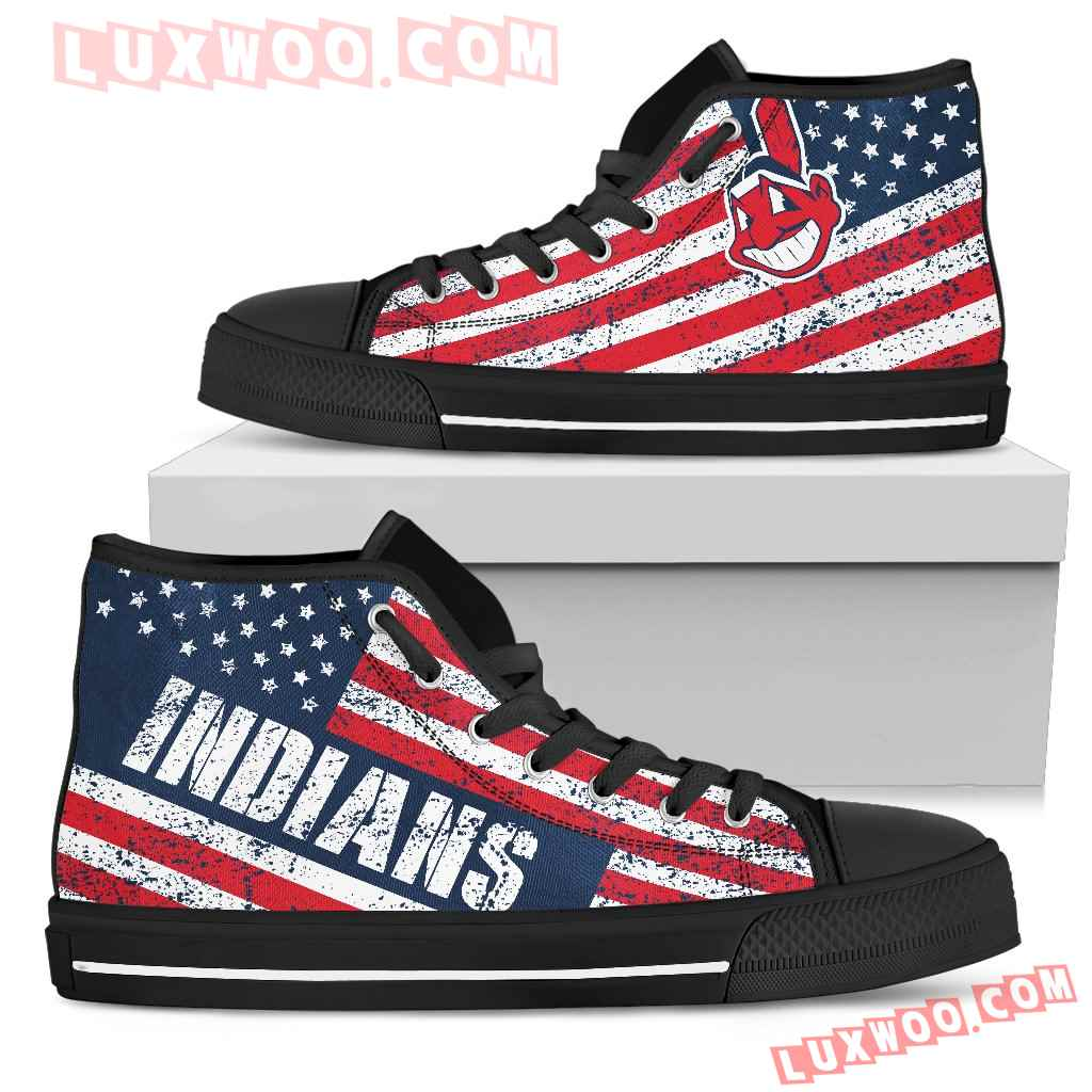 America Flag Italic Vintage Style Cleveland Indians High Top Shoes