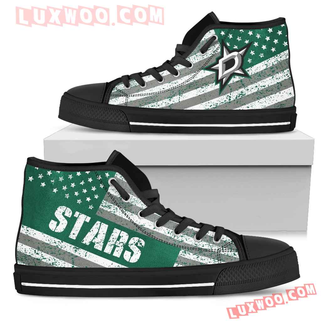 America Flag Italic Vintage Style Dallas Stars High Top Shoes