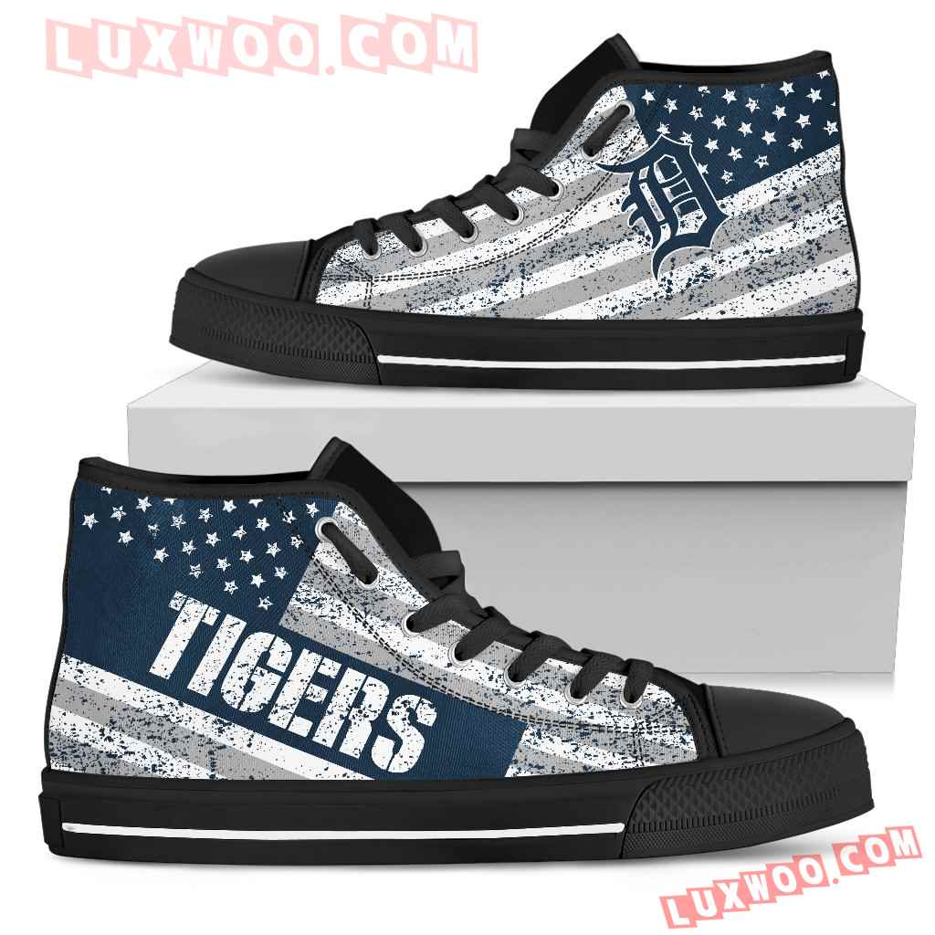 America Flag Italic Vintage Style Detroit Tigers High Top Shoes