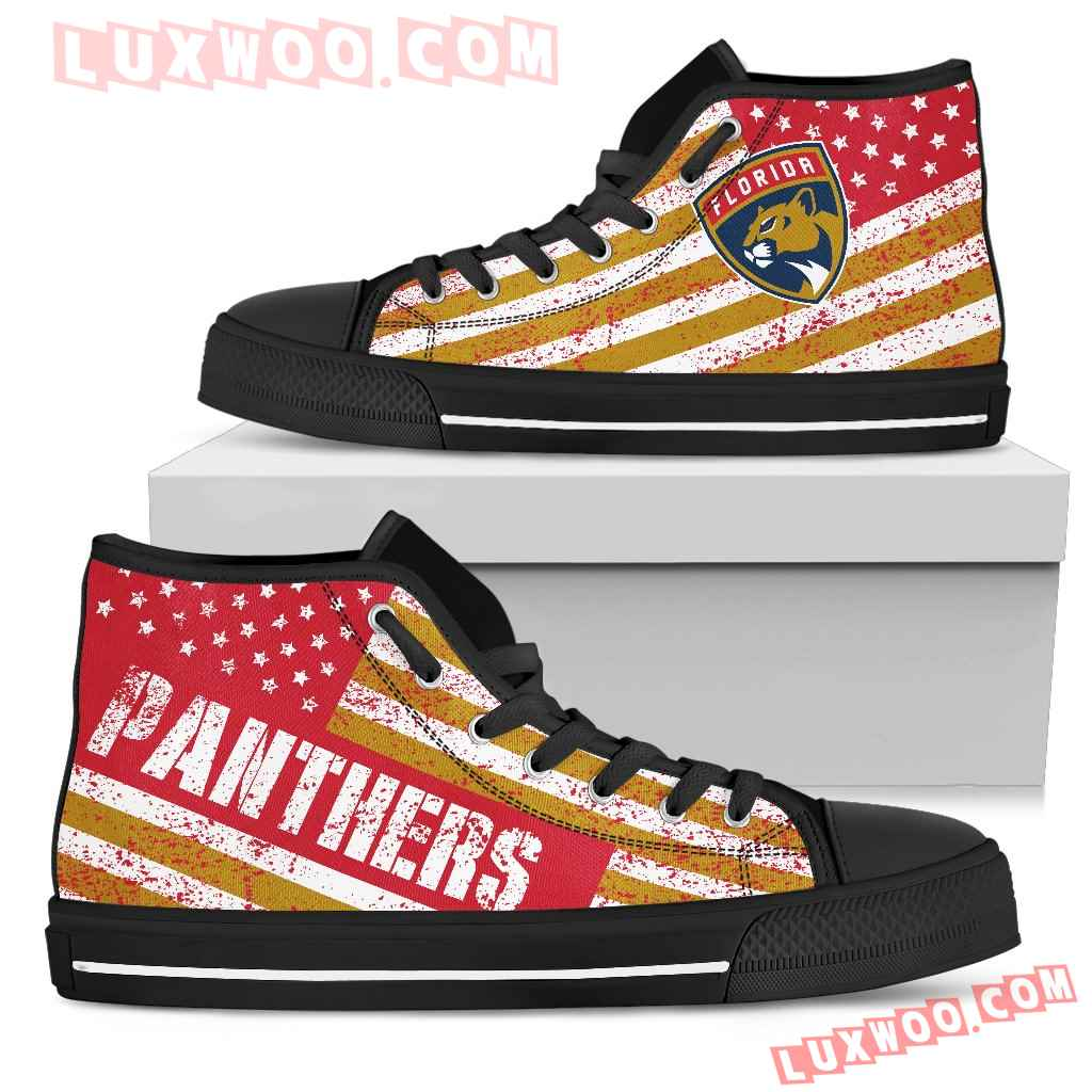 America Flag Italic Vintage Style Florida Panthers High Top Shoes