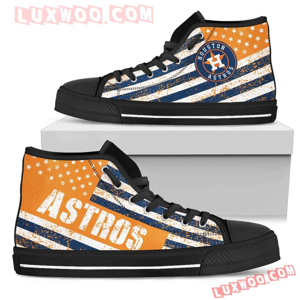 America Flag Italic Vintage Style Houston Astros High Top Shoes
