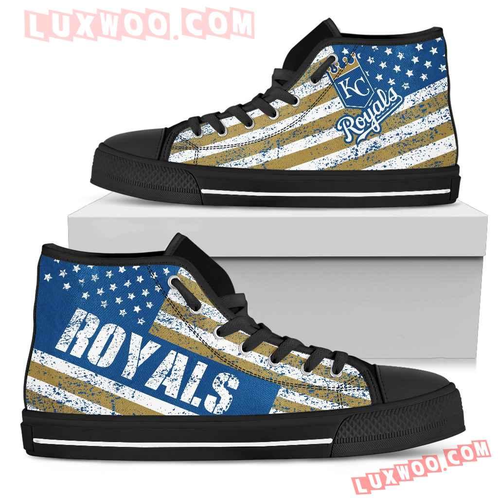America Flag Italic Vintage Style Kansas City Royals High Top Shoes