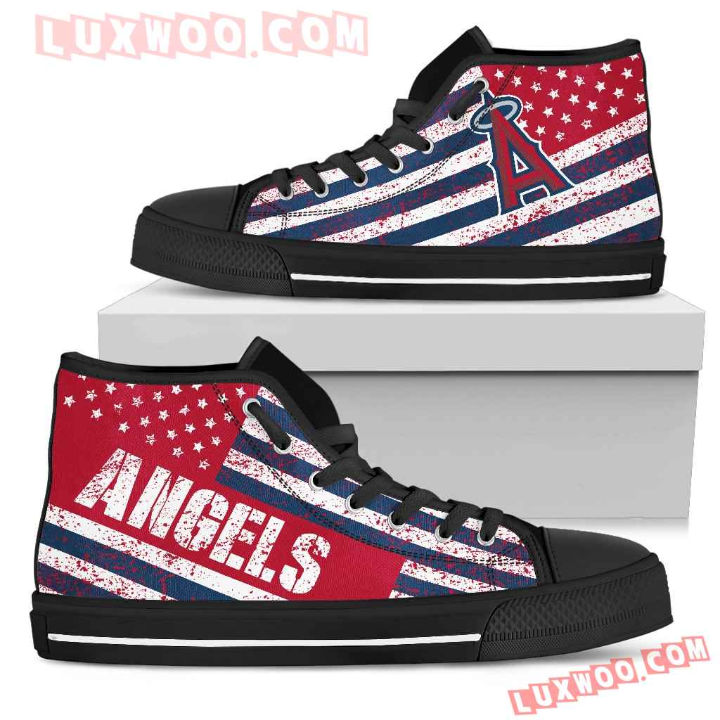America Flag Italic Vintage Style Los Angeles Angels High Top Shoes