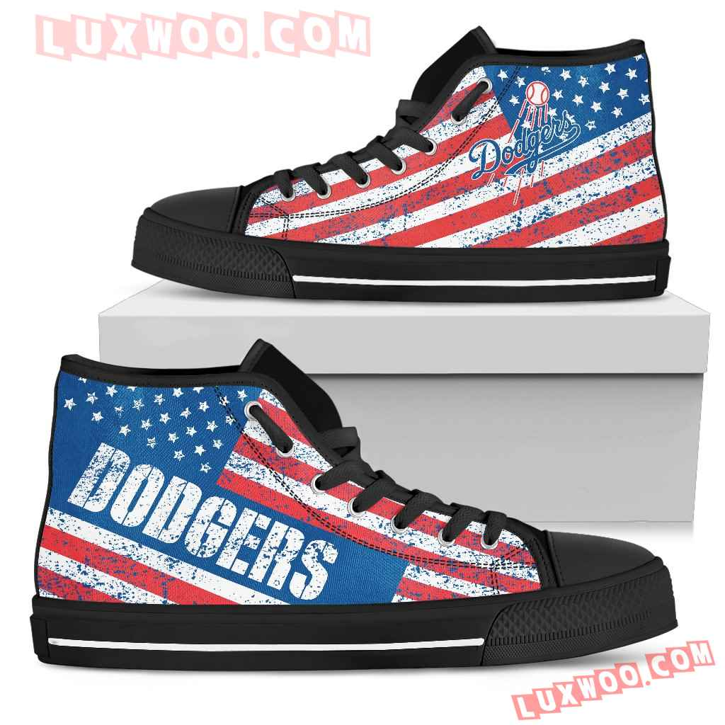 America Flag Italic Vintage Style Los Angeles Dodgers High Top Shoes