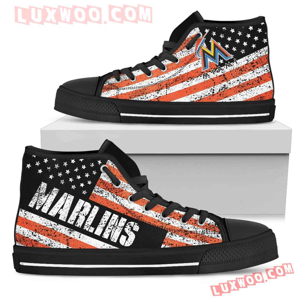 America Flag Italic Vintage Style Miami Marlins High Top Shoes