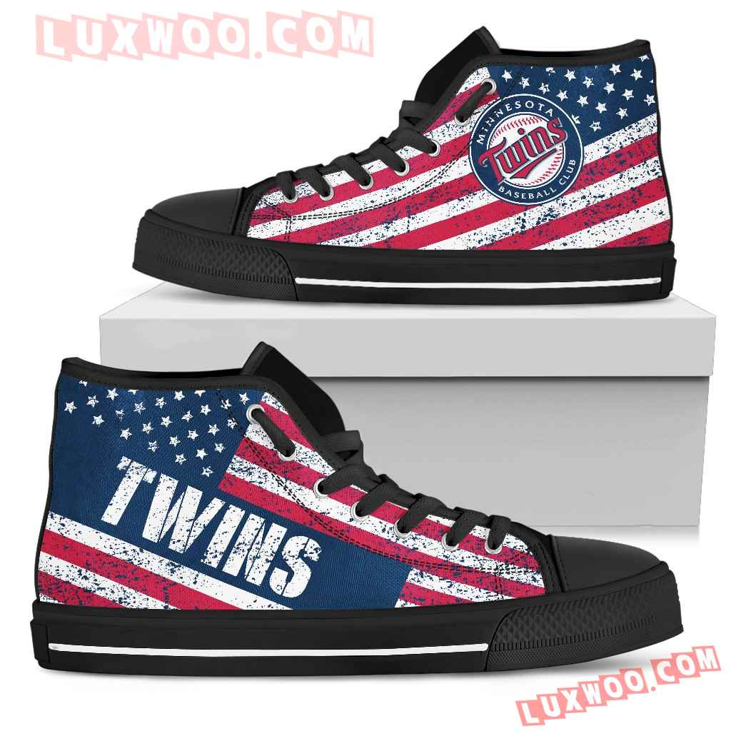 America Flag Italic Vintage Style Minnesota Twins High Top Shoes