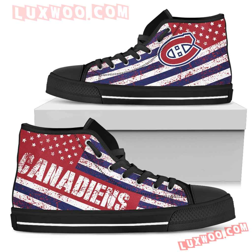 America Flag Italic Vintage Style Montreal Canadiens High Top Shoes