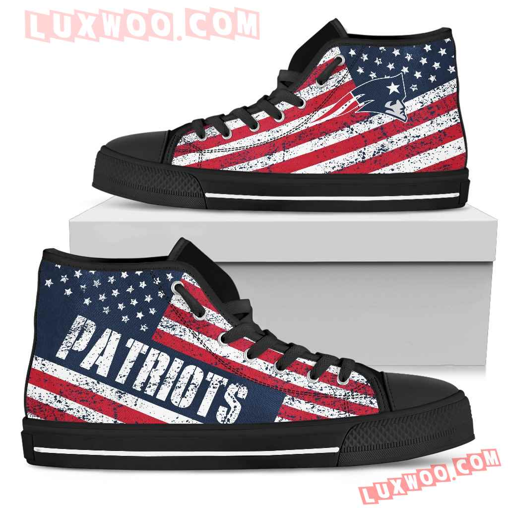 America Flag Italic Vintage Style New England Patriots High Top Shoes