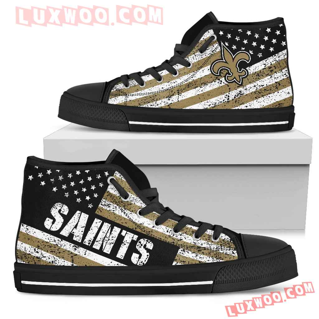 America Flag Italic Vintage Style New Orleans Saints High Top Shoes