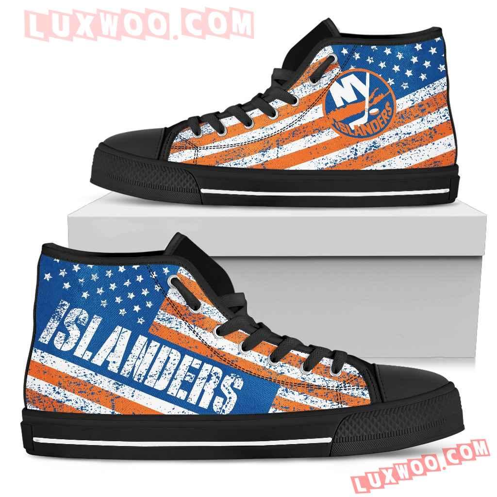 America Flag Italic Vintage Style New York Islanders High Top Shoes