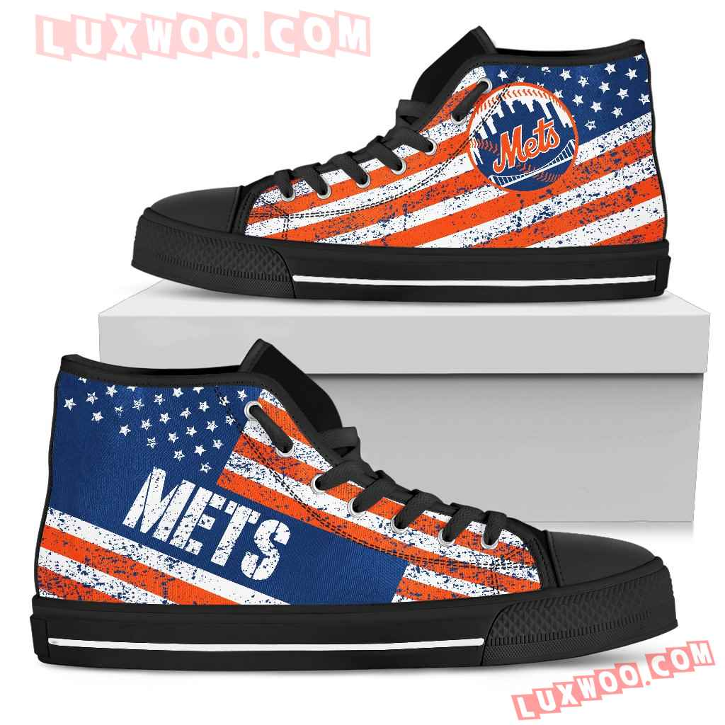 America Flag Italic Vintage Style New York Mets High Top Shoes