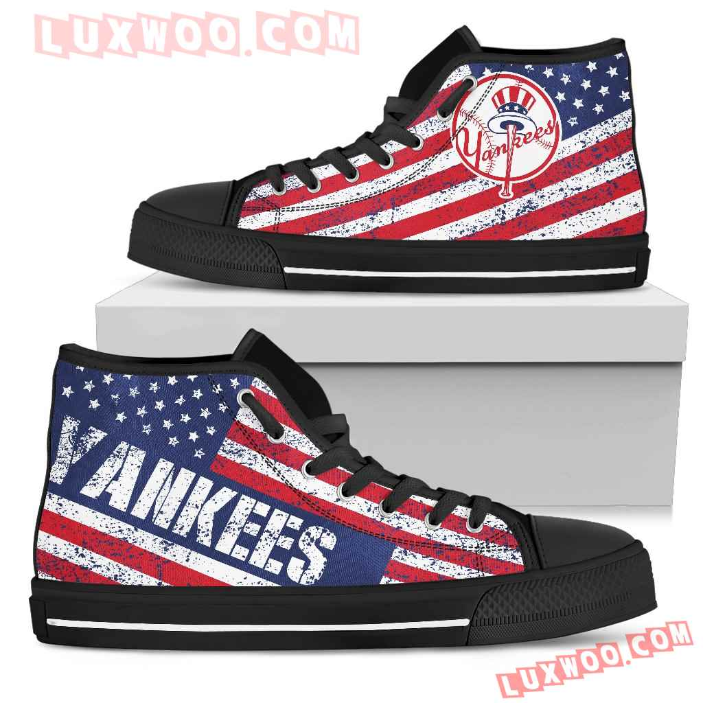 America Flag Italic Vintage Style New York Yankees High Top Shoes