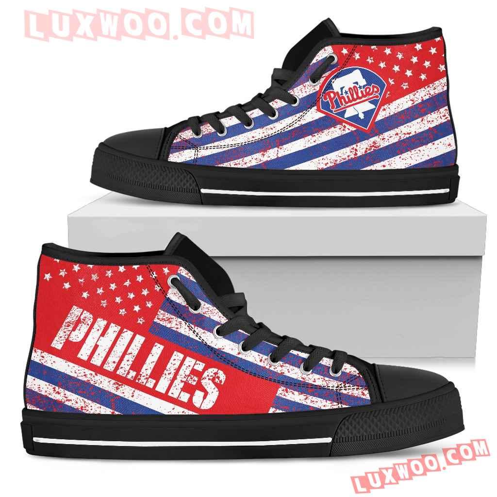 America Flag Italic Vintage Style Philadelphia Phillies High Top Shoes