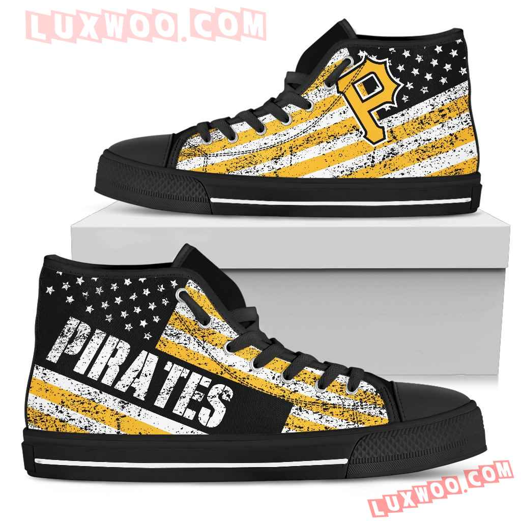 America Flag Italic Vintage Style Pittsburgh Pirates High Top Shoes