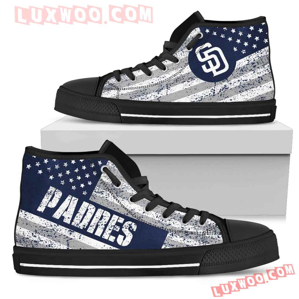 America Flag Italic Vintage Style San Diego Padres High Top Shoes