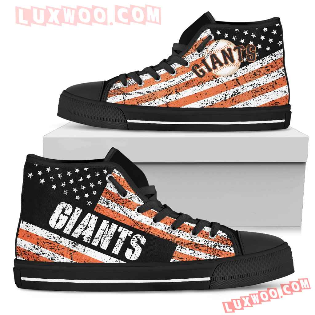 America Flag Italic Vintage Style San Francisco Giants High Top Shoes