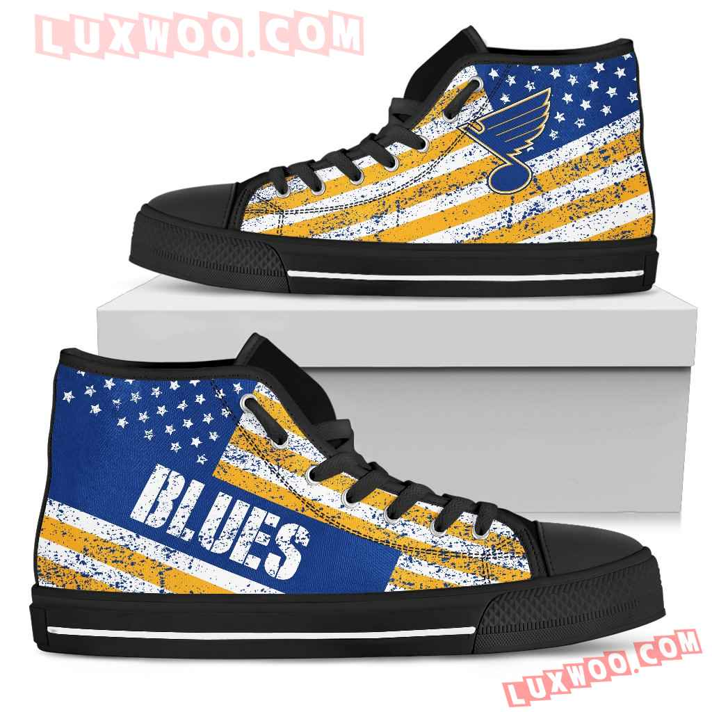 America Flag Italic Vintage Style St Louis Blues High Top Shoes