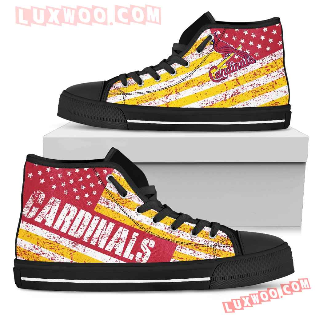 America Flag Italic Vintage Style St Louis Cardinals High Top Shoes