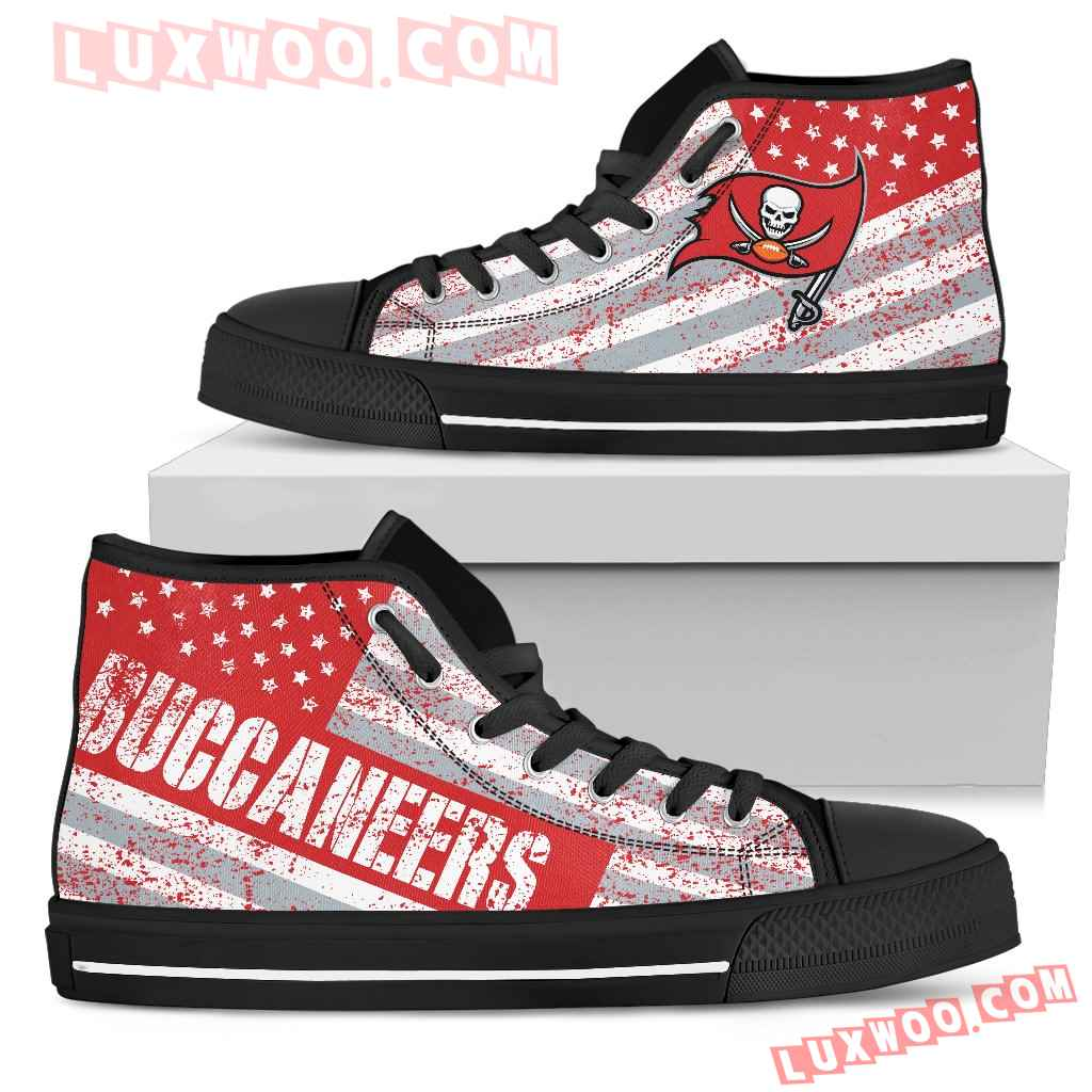 America Flag Italic Vintage Style Tampa Bay Buccaneers High Top Shoes
