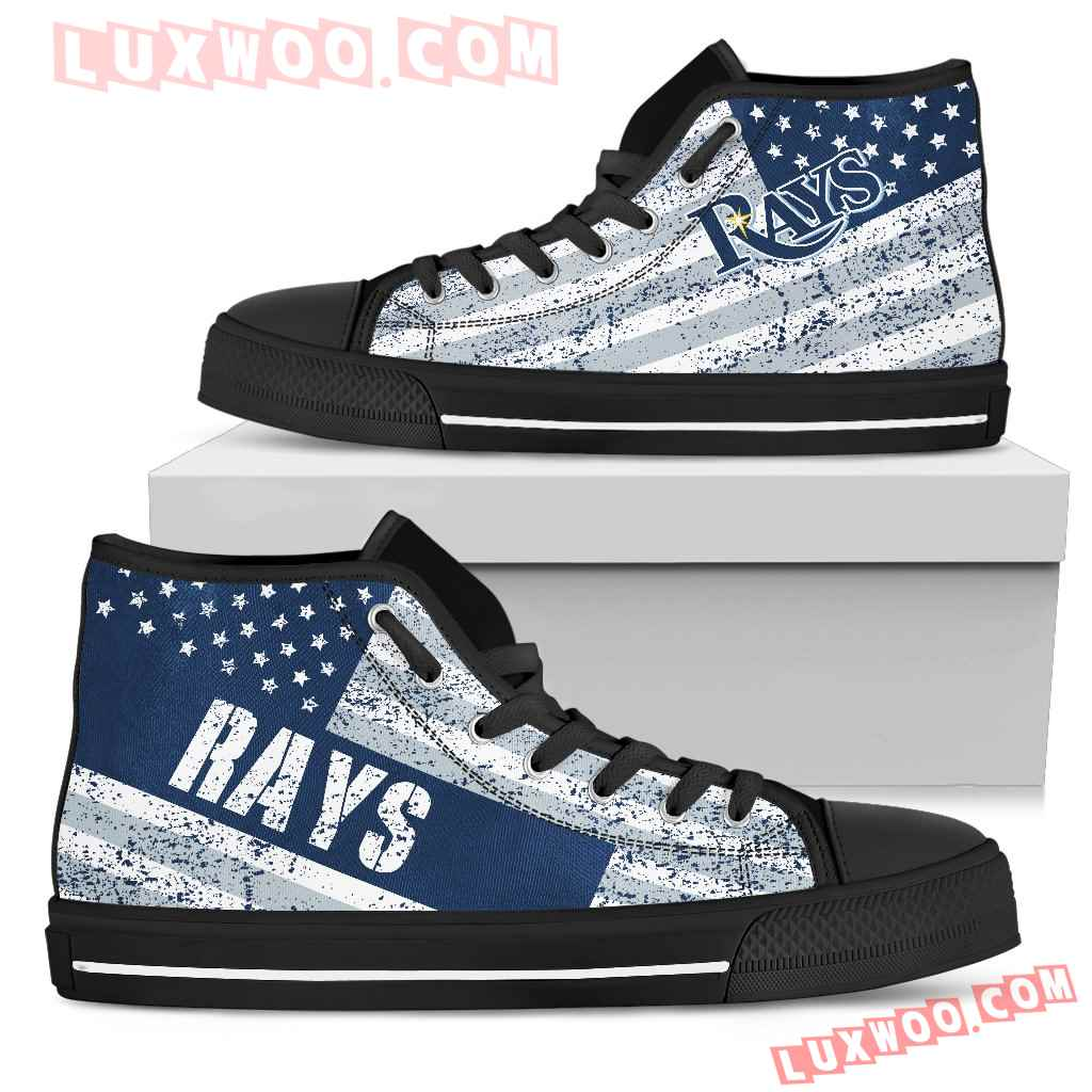 America Flag Italic Vintage Style Tampa Bay Rays High Top Shoes
