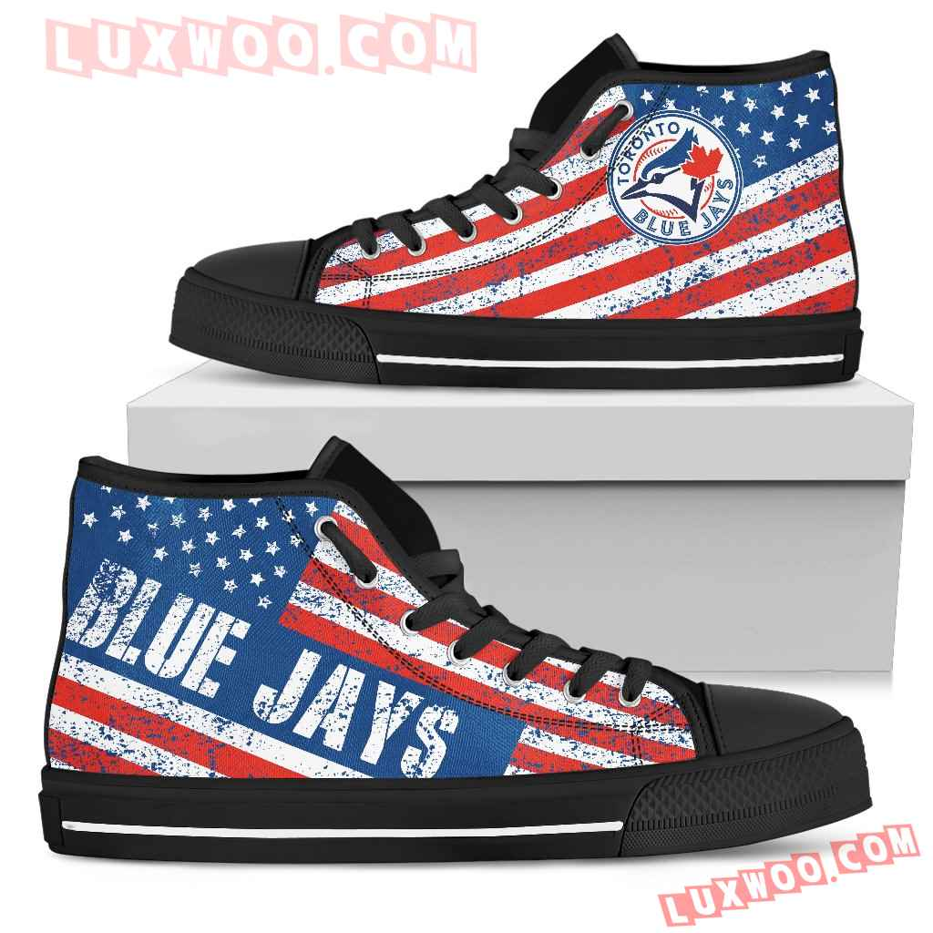 America Flag Italic Vintage Style Toronto Blue Jays High Top Shoes