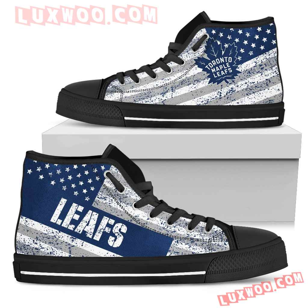 America Flag Italic Vintage Style Toronto Maple Leafs High Top Shoes