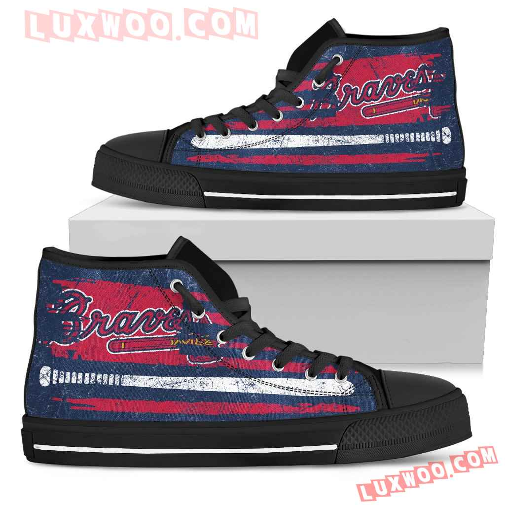 American Flag Vintage Baseball Atlanta Braves High Top Shoes