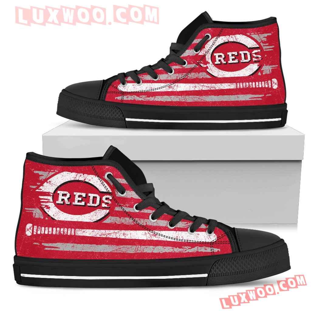 American Flag Vintage Baseball Cincinnati Reds High Top Shoes