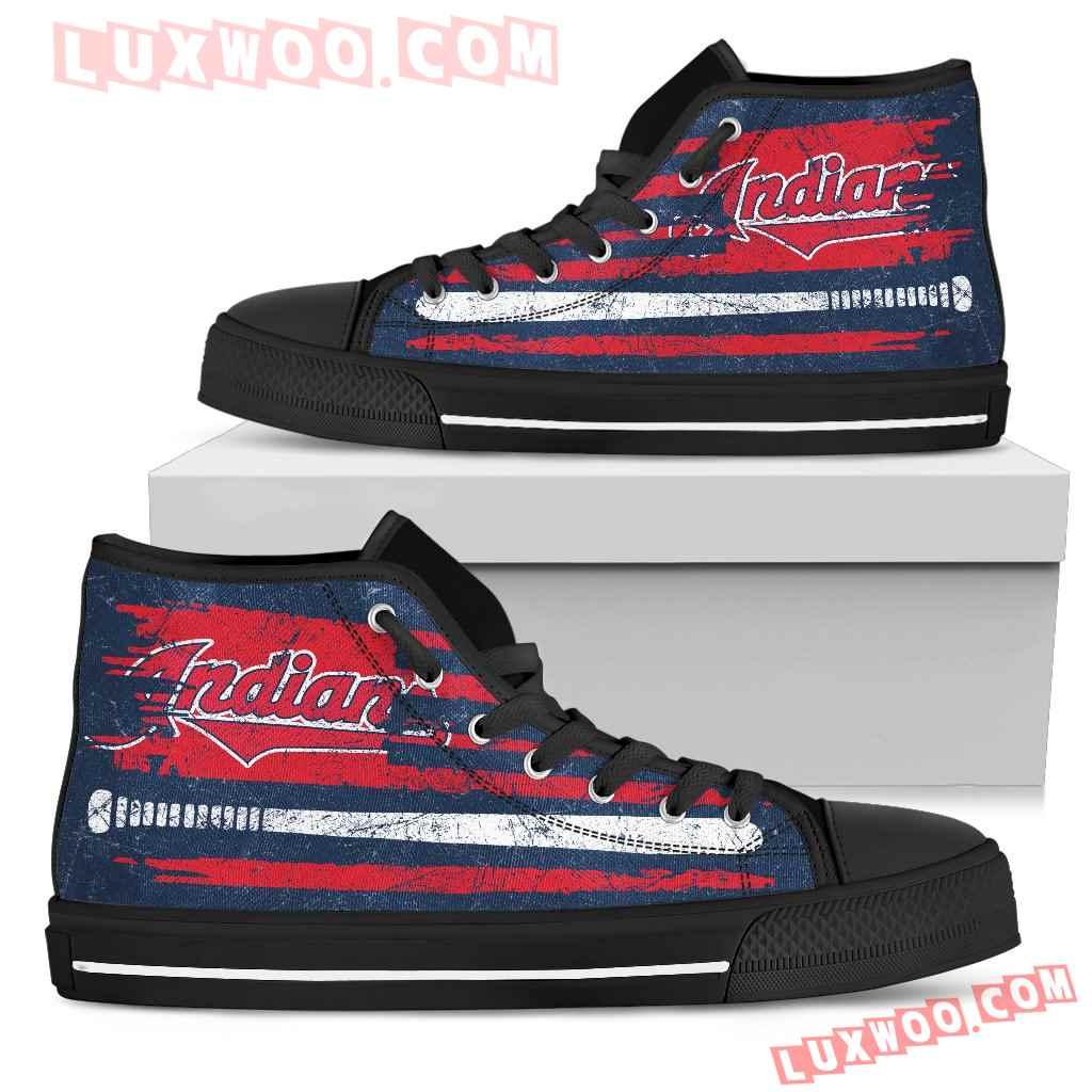 American Flag Vintage Baseball Cleveland Indians High Top Shoes